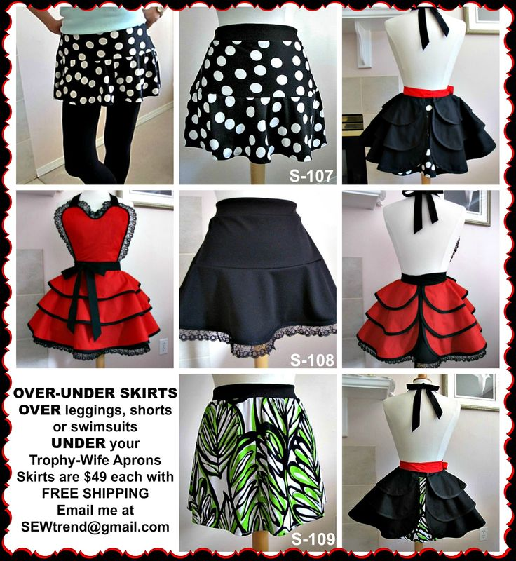 ☀☀ $  SAVE it to WIN it ☀☀ OVER-UNDER skirts are a great way to fashion-up your leggings, shorts or swimsuits.  #leggings #skirt -  Available at www.SEWtrend.com   or  www.Facebook.com/TrophyWifeAprons