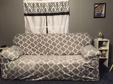 DIY no sew couch cover out of sheet