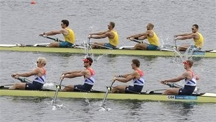 Great Britain's, bottom left to right, Andrew Triggs Hodge, Tom James, Pete Reed and Alex Gregory, bottom, and Australia's, top from left, Joshua Dunkley-Smith, Drew Ginn, James Chapman and William Lockwood compete during a men's rowing four semifinal  in Eton Dorney, near Windsor, England, at the 2012 Summer Olympics, Thursday, Aug. 2, 2012. Great Britain finished first and Australia second.   #olympics #rowing