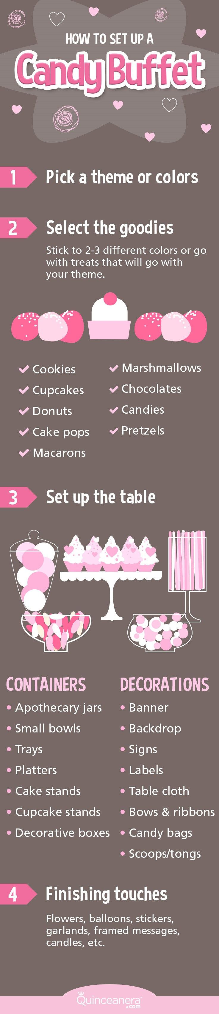 Decorate your candy buffet with extravagant backdrops, cupcakes topped with edible figurines matching your theme, and a massive 10-tiered cake with over-the-top embellishments! Here are some tips to make it stand out to the max: - See more at: http://www.quinceanera.com/decorations-themes/20-most-creative-candy-buffets-youve-ever-seen/#sthash.an0KPE59.dpuf