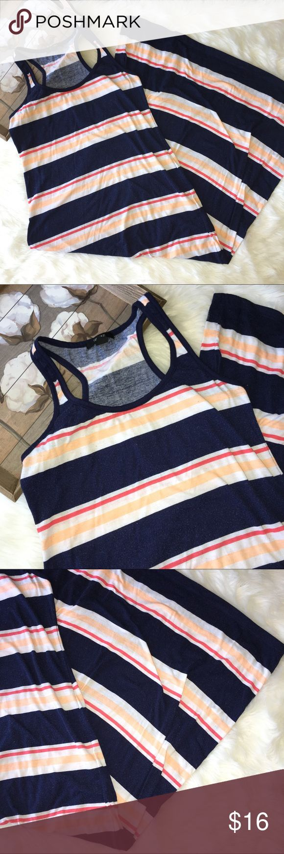 Forever 21 Striped Navy Blue & Coral Maxi Dress Super chic and stylish navy blue striped Maxi dress by Forever 21 in good preowned condition. Size large. Very soft and comfy! Easy to wear and style. Forever 21 Dresses Maxi