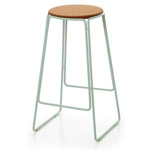 Smed Stool in mint powdercoated metal topped with a cork seat. A collaboration between Ox Design and Great Dane Furniture.