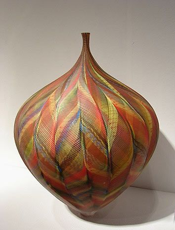 *This graceful use of color and form should inspire Polymer Clay cane artists (thumbs up!): 354px-465px-Lino-Tagliapietra-glass-bottle.jpg  (TAG  ARTIST; CERAMICS)