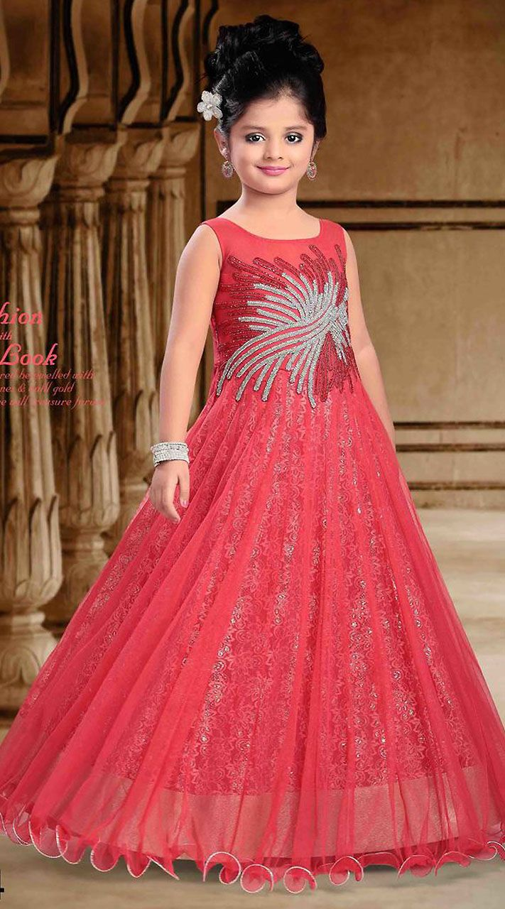 Beautiful Salmon Net Designer Readymade Kids Princess Gown DT301441