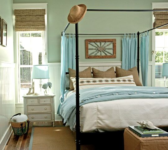 "Sherwin-Williams ""Softened Green'' #SW6177: Wall Colors, Green Wall, Blue Green, Master Bedrooms, Colors Schemes, Canopies Beds, Bedrooms Ideas, Beaches Bedrooms, Coastal Bedrooms"