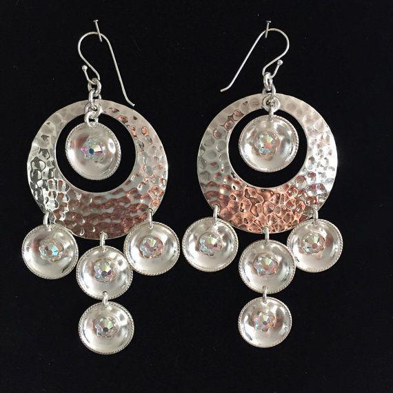 Store øredobber med håndlagde sølvløv - med swarovski krystaller - Silver earrings