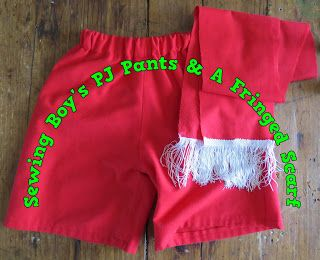 A Pretty Talent Blog: Sewing Boy's PJ Pants With A Fringed Scarf