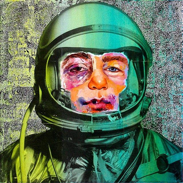 "'Shimmering Cosmonaut' 20""x20"" glitter acrylic xerox transfer print oil paint on canvas #amdebrincat #art #fashion #contemporaryart #glamour #outerspace #spacetravel #galaxy #glitter by amdebrincat"