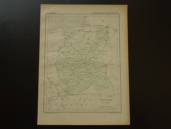 Original 1896 old map of Poland antique French by DecorativePrints