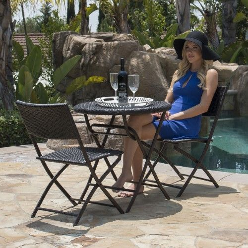 Bellezzaâ© Folding Table Chair Bistro Set Rattan Wicker 400 x 300