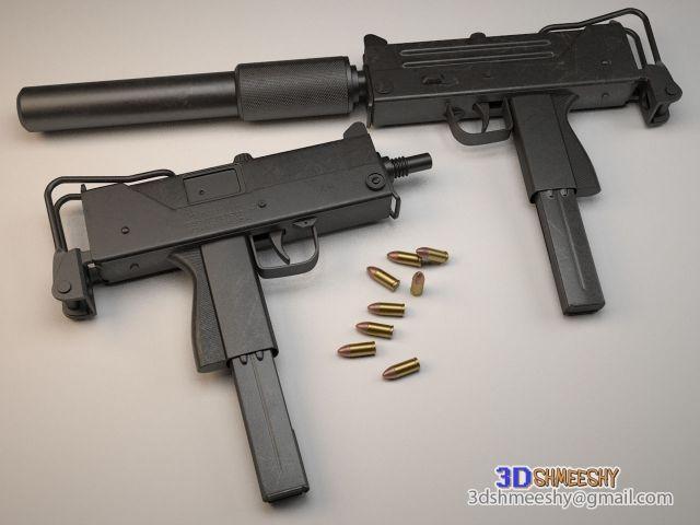 3D Model Ingram MAC 10 c4d, obj, 3ds, fbx, ma, lwo 32725