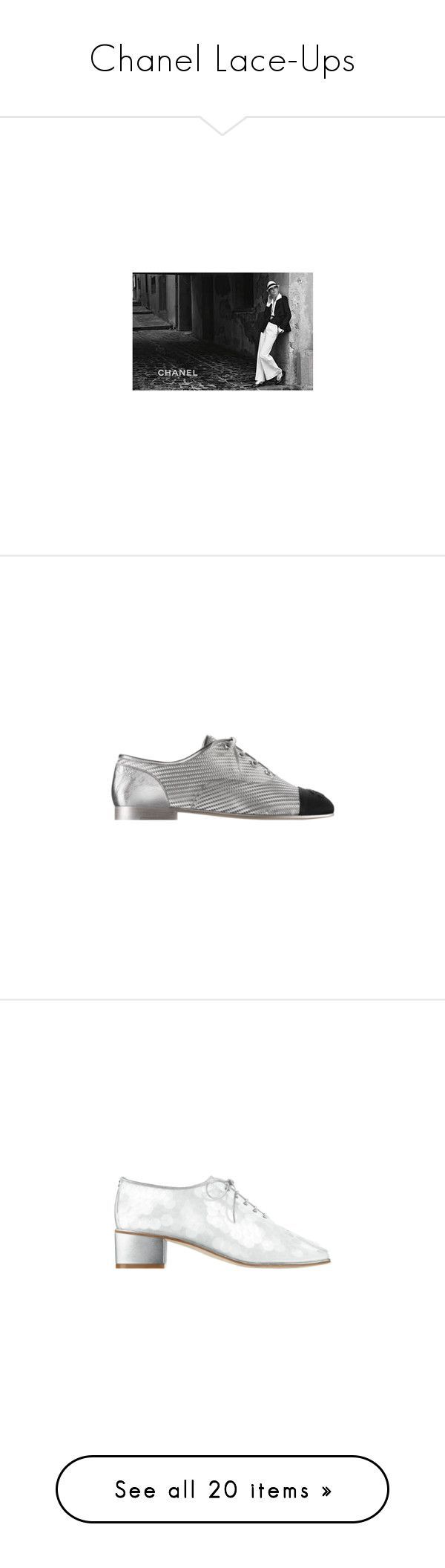 """""""Chanel Lace-Ups"""" by karalaska ❤ liked on Polyvore featuring shoes, black laced shoes, black lace up shoes, laced up shoes, laced shoes, kohl shoes, chanel footwear, chanel, lizard shoes and black patent shoes"""