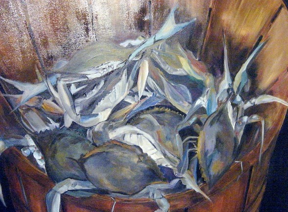 Bushel of Crabs Artist: Naz Akbar Oil on Canvas  Size 40x40