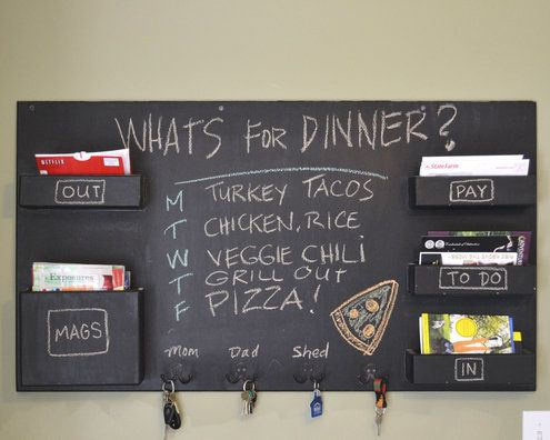 DIY Idea: Make a Chalkboard Wall-Mounted Home Organizer | Man Made DIY | Crafts for Men | Keywords: organization, diy, decor, how-to