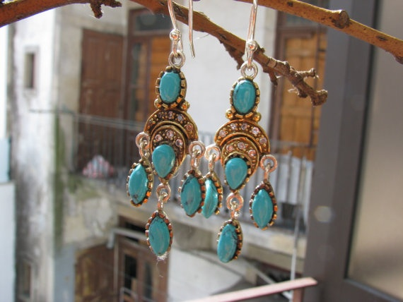 Chandelier earrings with sterling silver gold by BijouxaLaCarte, $35.00 ~ SOLD~