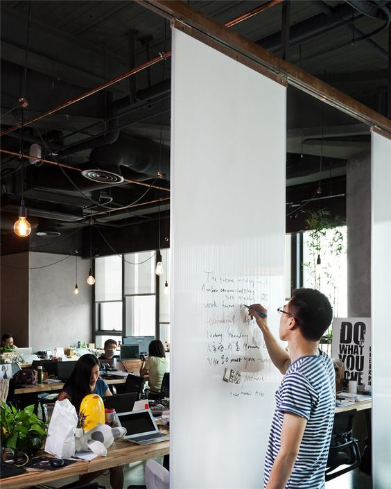 Need to remember to add some highlight for brainstorming. Also saw an idea where you can pull down a paper roll... will try to find and add.  LEO headquarters in Shanghai whiteboard wall:
