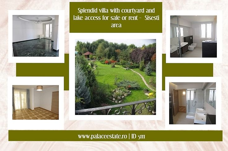 A superb villa with 4 bedrooms, courtyard and access to Lake Grivita, with 4200 square meters land, available now for sale or rent in Sisesti area. The building has a gorgeous yard, bordering Lake Grivita and Sisesti Road. Don't hesitate to call now to schedule a viewing of what may be your future home! www.palaceestate.ro | 5111
