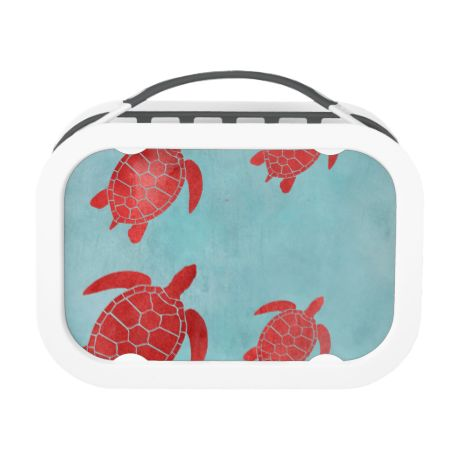 Red and Blue Green Sea Turtle Lunch Boxes