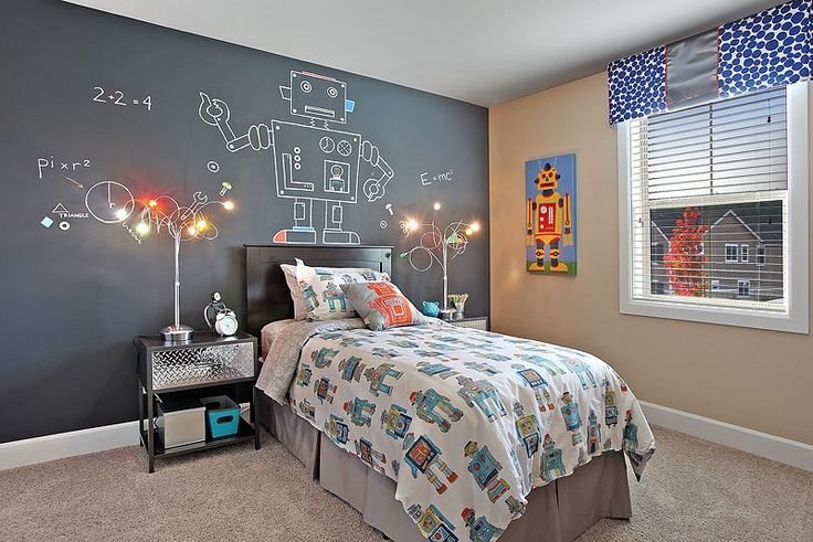 "Spotted! Max Grover's ""Yellow Robot"" Canvas Art for Kids http://www.oopsydaisy.com/store/shop/canvas-wall-art/yellow-robot.html in this awesome robot room for boys - chalkboard paint on feature wall for designing your own robot."