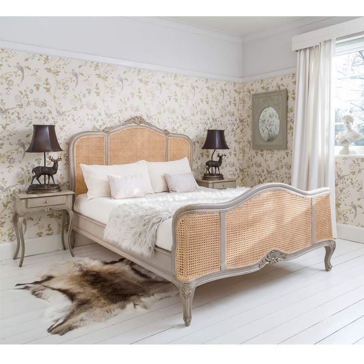 Normandy Rattan Painted Luxury French Bed by The French Bedroom Company