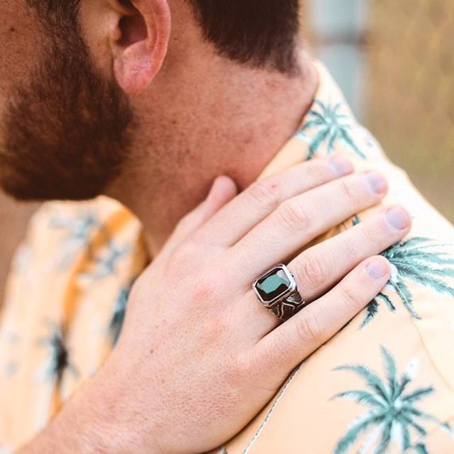@brightong rocking our titanium black crystal stone ring 🙌🏽 See our entire collection today.