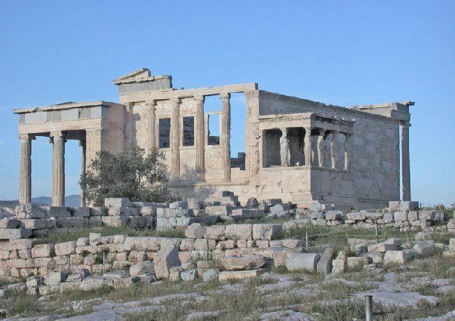 Eretteo, V sec., marmo pentelico. Tempio ionico, prostilo esastilo, architetto Filocle