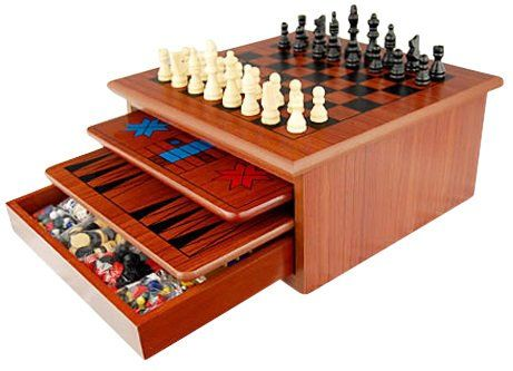 10 in 1 Wooden Chess Board Games Slide Out Best Checkers House Unit - chess score sheet