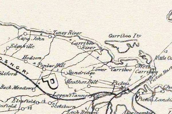 map of Poplar Hill in Pictou County