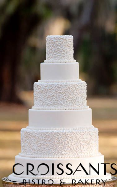 Elegant Southern Wedding Cake.  White piped lace and pearls Myrtle Beach, SC