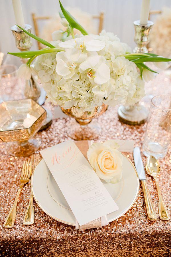 place setting inspired by rose gold #weddinginspiration #weddingreception #weddingchicks http://www.weddingchicks.com/2014/02/19/glamorous-rose-gold-wedding/