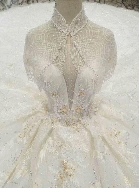 Light Champagne Ball Gown Tulle Sequins High Neck Backless Appliques Wedding Dress