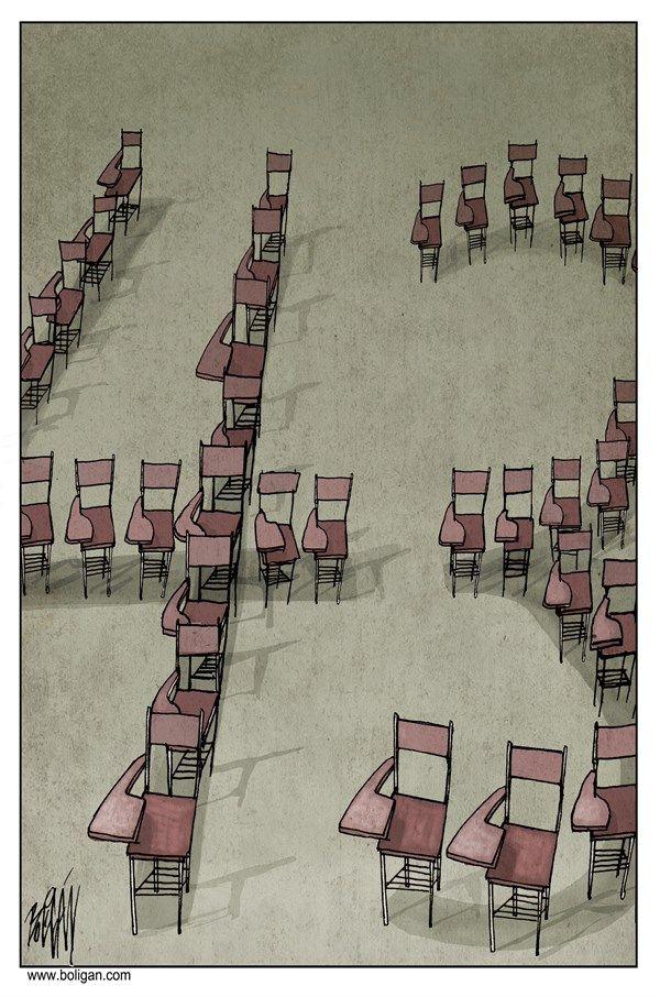 43 MISSING STUDENTS | Nov/25/24 Angel Boligan - El Universal, Mexico City, www.caglecartoons.com - Faltan 43 /  - ayotzinapa, 43, estudiantes, desaparecidos, pupitres, escuela, mexico, violencia,
