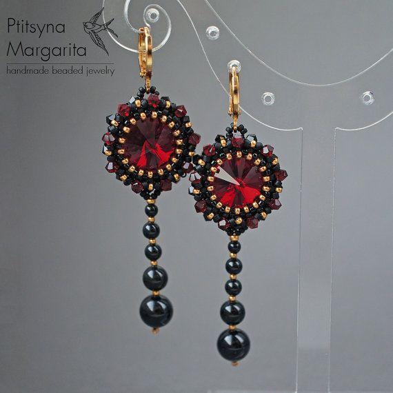 Lunga con perline orecchini con cristalli di RitaLovelyBeads