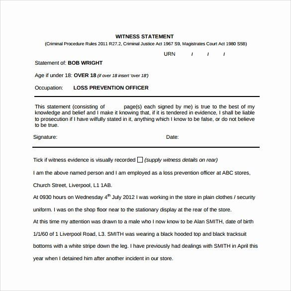 Witness Statement Form Template Luxury 12 Sample Witness Statement