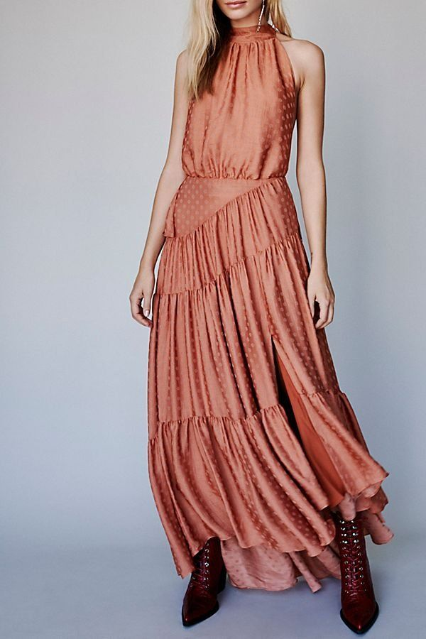 d64a97068b9a Wild Heart Maxi Dress - Peach Colored Satin High Neck Maxi Dress with  Ruffled Details - Boho Maxi Dresses - Maxi Dresses - Free People Dresses