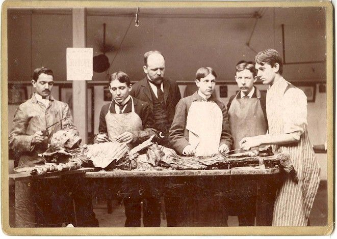 "MEDICAL. Cadaver Dissection. Ca. 1890 Cabinet card photograph (5"" x 7""), Strong view of students undergoing a medical dissection."