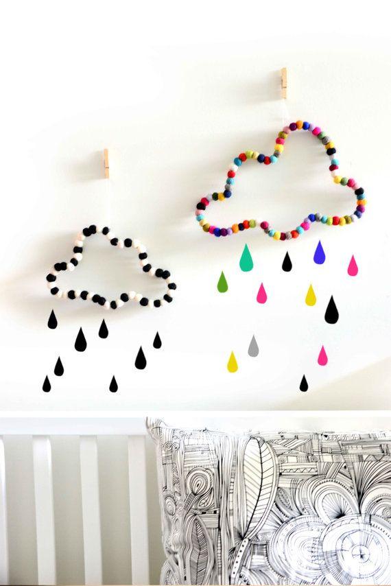 Cloud wall decor. Nursery decor. Kids room decor. Babies room. Black and white decor. Children homewares. Wall art decorations. Felt balls