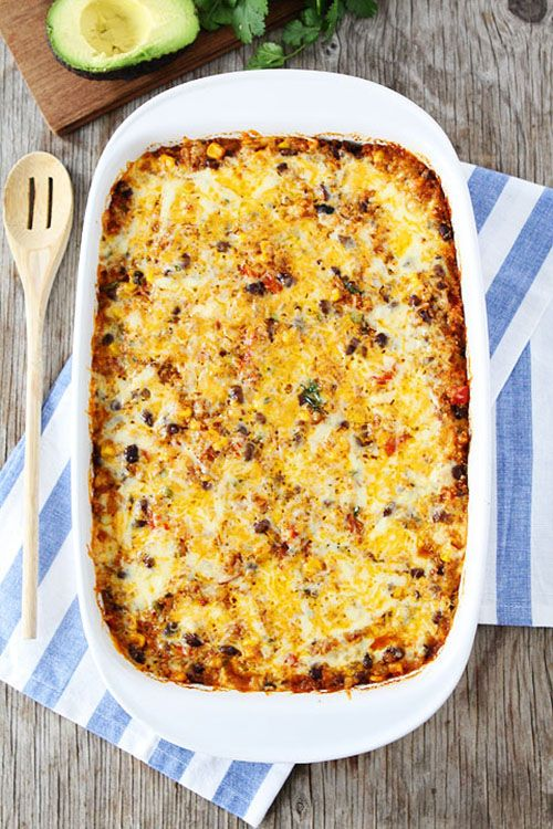 Quiona tops of the list of high-quality, non-meat protein sources and it can be kid-friendly, too, when added to this Black Bean and Quinoa Enchilada Bake | Two Peas and Their Pod