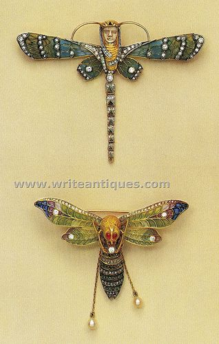 Vintage, deco dragonfly and moth jewelry by Masriera.