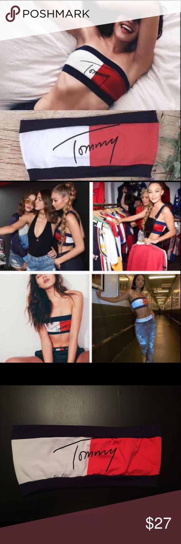Tommy Hilfiger Bandeau Crop Top Tube Top One Tommy Hilfiger Bandeau Crop Top Tube Top size s S (4-6) and size M (8-10) available boutique  Tops Crop Tops