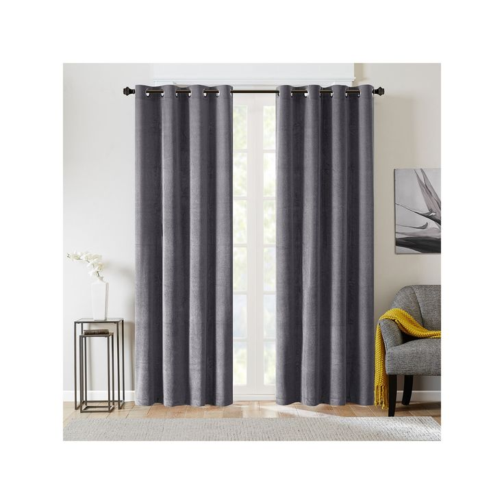 Madison Park Matera Basketweave Chenille Curtain, Grey