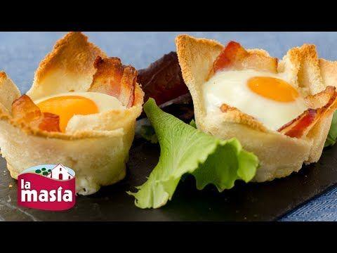 Recetas Entrantes   Receta Tartaletas de Pan con Huevo y Bacon