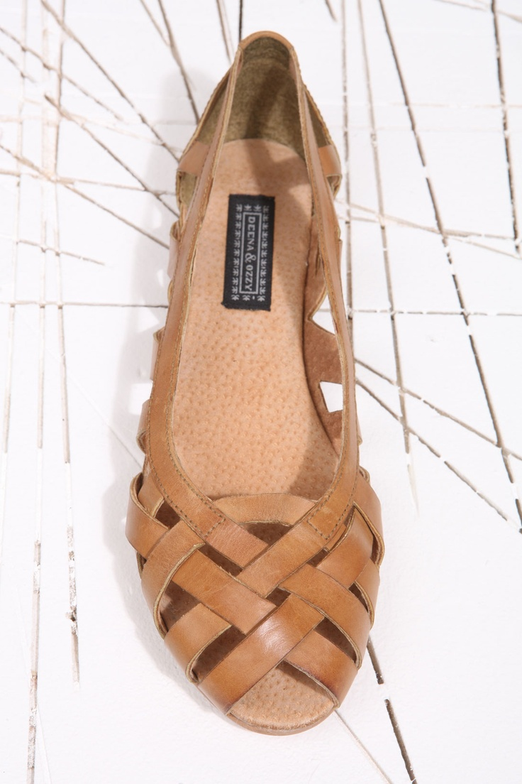 Deena & Ozzy Hettie Tan Cut Ballerina Shoes at Urban Outfitters