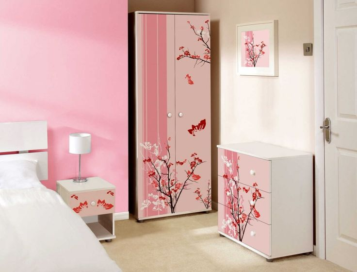 Cute Pink Floral Prints On A Bedroom Modern Girls Bedroom Ideas With Big  Mirrors, Pink