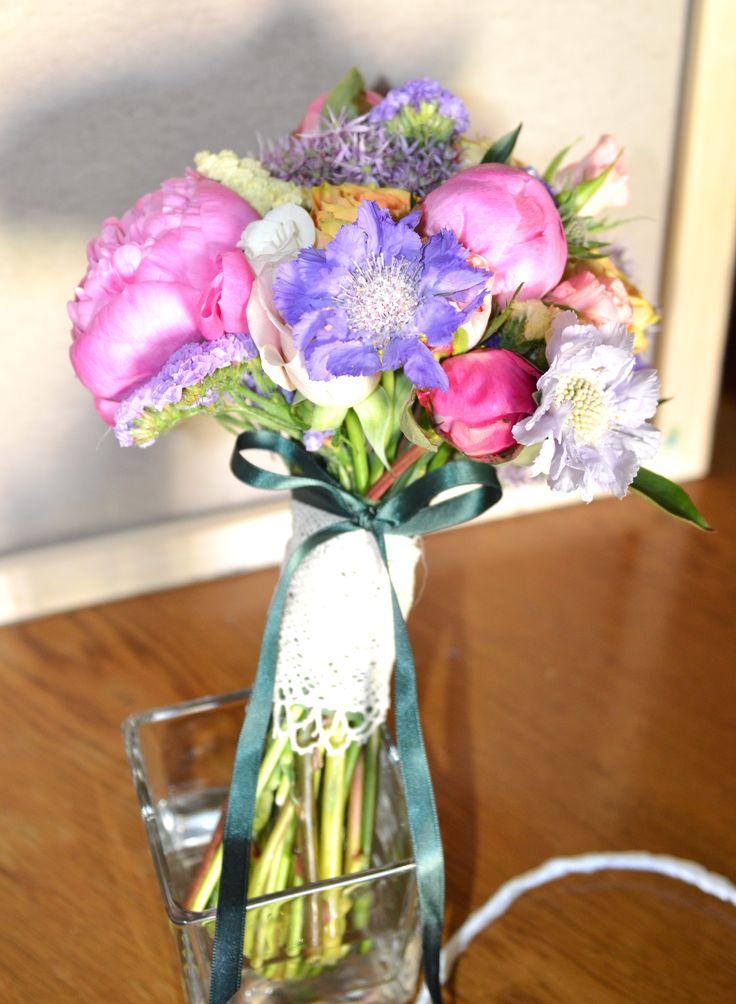 Colorful bouquet for a happy bride