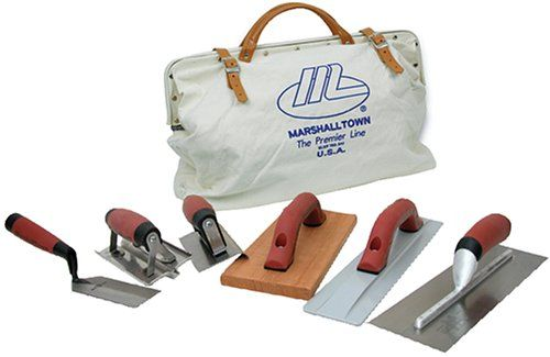 MARSHALLTOWN The Premier Line CTK2 Concrete Tool Kit. Everything you need to finish concrete in comfort and style. Tools come with Marshalltown's DuraSoft handles for a soft feel, reduced fatigue, and excellent durability. Kit includes 14-Inch by 4-Inch finishing trowel, 16-Inch by 3-1/8-Inch magnesium float, 6-Inch by 6-Inch stainless steel concrete groover (1/2-Inch groove). 6-Inch by 3-Inch curved end edger (3/8-Inch radius), 12-Inch by 5-Inch wood float, 5-Inch by 2-Inch margin…
