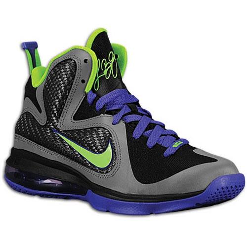 Nike LeBron 9 GS \u2013 Black/Green\u2013Purple - Available @ Eastbay -