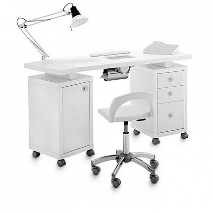 "Manicure table Square Double Vented 317 LX - for beauticians. Resistant and well-finished manicure table with a large worktop and AR2 vent system with charcoal activated ""long life"" filter, 2 cabinets with 4 drawers and 2 roomy storage chests. The table also comes with free swing arm lamp, padded arm rest pad and nail polish display.   Artecno design and production.  #manicure #artecno #madeinitaly #design #salon furniture"