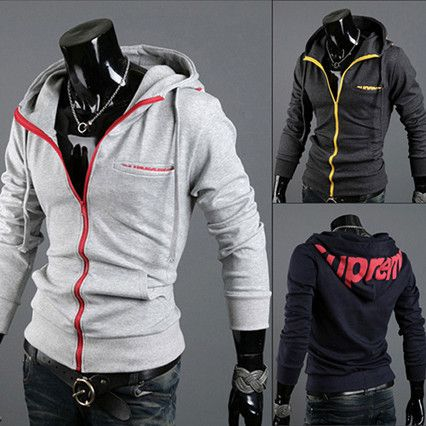 Color Zip Fashion Slim Fit Men Hoodie Jacket  . Shop Now At http://sneakoutfitters.com/collections/new-in/products/color-zip-fashion-slim-fit-men-hoodie-jacket