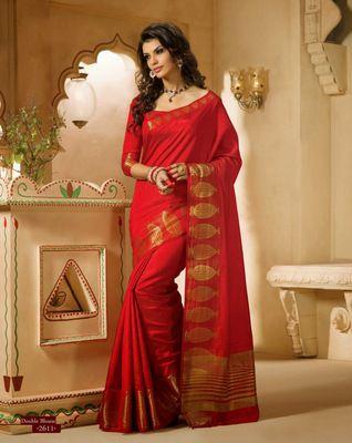 #Red Zari #silk #saree with blouse. Look #Beautiful ! - http://bit.ly/1PTHjo8